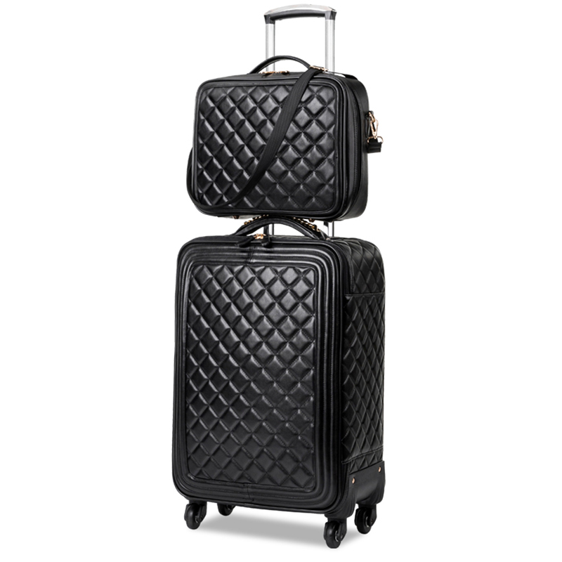 LeTrend Retro PU Leather Rolling Luggage Set Spinner High Capacity Trolley High Grade Luxury Suitcase Wheels Cabin Travel Bag