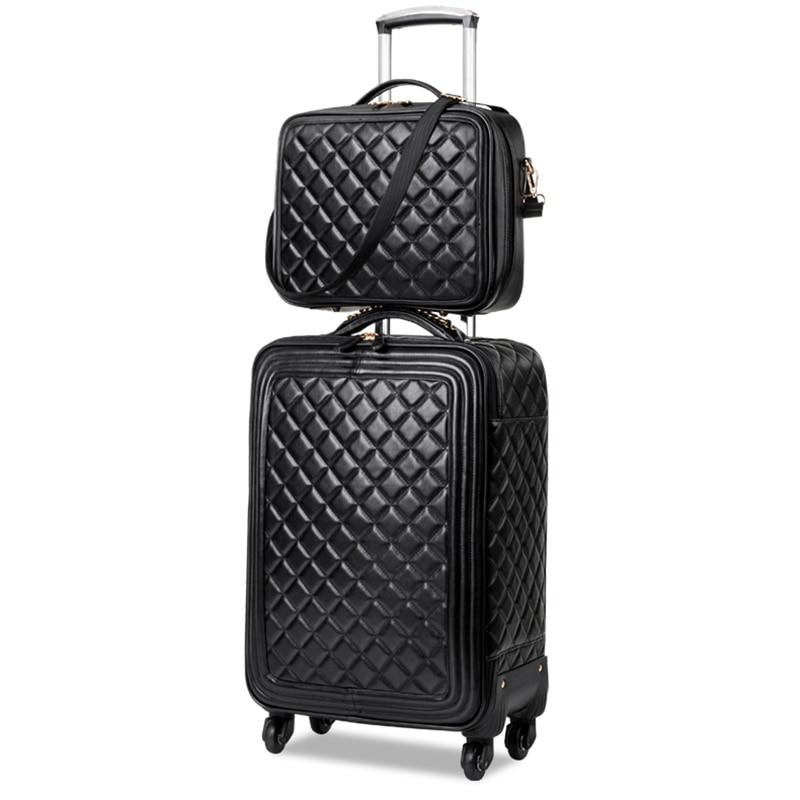 LeTrend Retro PU skóra zestaw walizek na kółkach Spinner o dużej pojemności wózek wysokiej klasy luksusowych koła kabina walizka torba podróżna w Zestawy bagażowe od Bagaże i torby na  Grupa 1