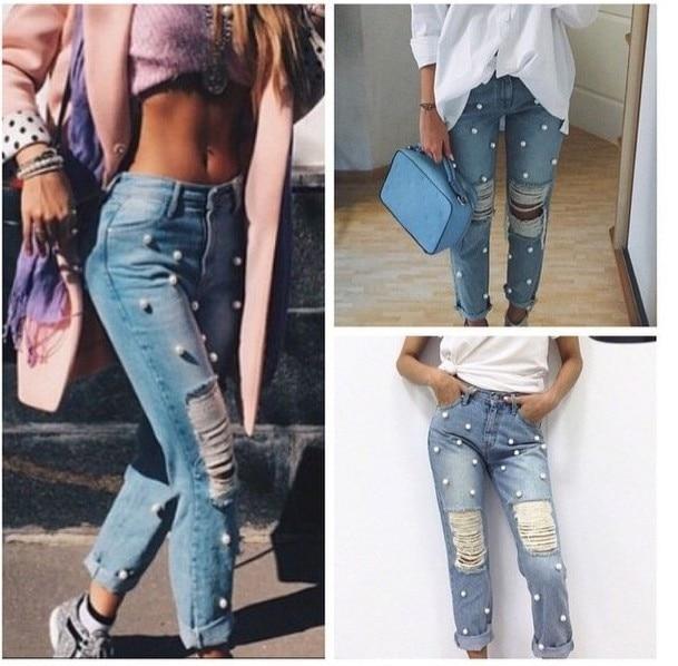 4de19105164 Fashion hole beading pearl jeans loose full length ripped denim pants women  trousers plus size feminina