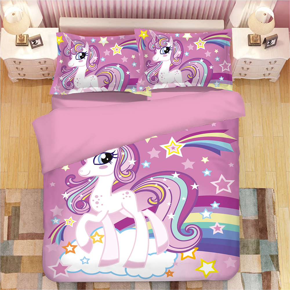 Rainbow Unicorn Bedding Set Cartoon Single Bed Duvet Cover Sweet Dream for Kids Girls 3pcs Colorful