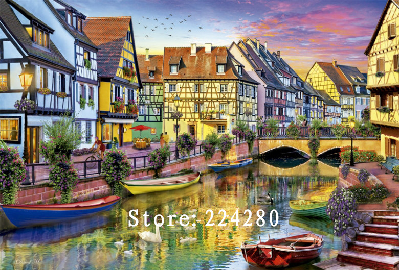 Needlework Canal side house Scenery 14CT Counted For Embroidery Quality DIY DMC Cross stitch kits Art