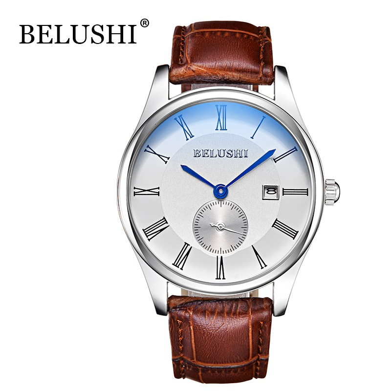 BELUSHI Watches Men Date Day Brand Luxury Genuine Leather Strap Sport Watches Male Casual Quartz Watch Men Wristwatch Men's Cloc men sport wrist watches male casual quartz brand leather watch high quality men watch luxury day date stainless steel dial clock
