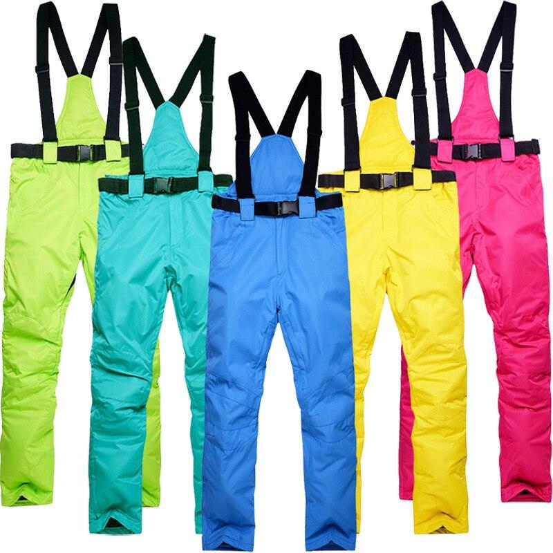 Sj-maurie bavoir pantalon de Ski imperméable chaud hiver Sports de plein air pantalon de neige pantalon de Ski S-3XL pantalon de Snowboard solide grande taille