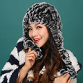2015 autumn winter Super warm winter women genuine rex rabbit fur ear muffs Rex Rabbit cap lady luxur fur hat hair band ribbon