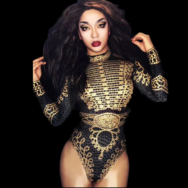Party Celebrate Glisten Rhinestones Costume Stage Leotard Wear Shining Gold Black Crystals Bodysuit Nigthclub Performance Outfit