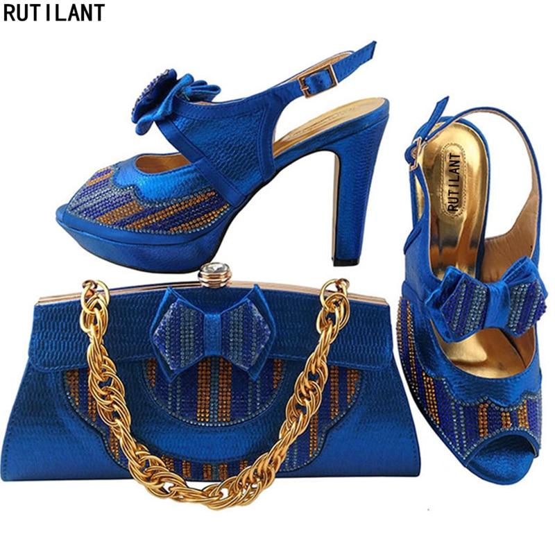 Zapatos Real azul peach Diamantes Bolsa rosado Con Bolso rojo Italia water De Y Decorado Africana Azul Green oro Nigeria Italiano D Blue Fiesta Imitación Para Las Mujeres 4qpStFwc