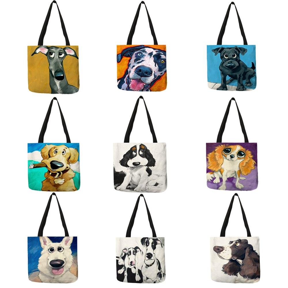 Customize Greyhound Black Dog Print Women Lady Fashion Tote Bag Fabric Handbags Folding Reusable Shopping Bags Pouch