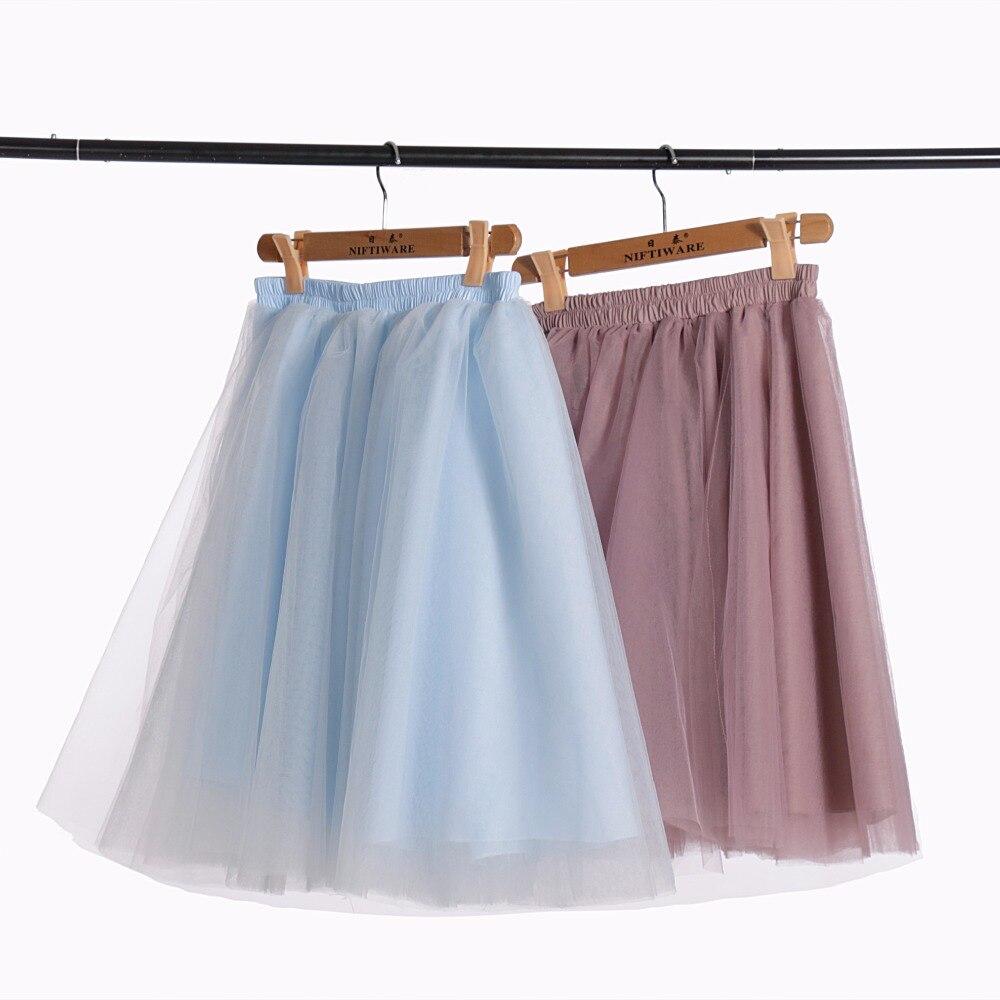 Azul pálido Tutu tulle Faldas mujeres 4 capas moda Falda midi nueva moda  falda tul mujer 2017 real foto cualquier color libre en Faldas de La ropa  de las ... 70957c0746fe