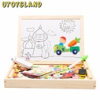 UTOYSLAND Baby Kids Educational Learning Wooden Magnetic Drawing Board Jigsaw Puzzle Sorting Toys Type 4