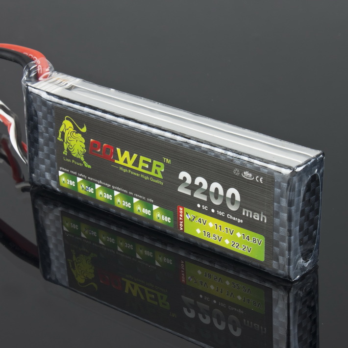 Lion Power 2S Lipo Battery 7.4V 2200mah 25C Max 40C JST / <font><b>T</b></font> / XT60 <font><b>Plug</b></font> for RC Qudcopter Helicopter Airplane Car 1/16 Revo Toy image