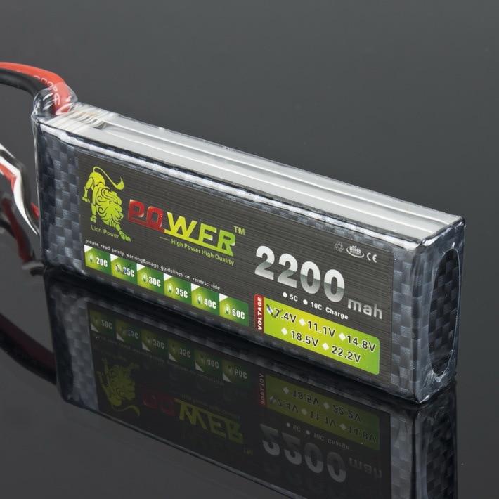 Литий-полимерный аккумулятор Lion Power 2S, 7,4 В, 2200 мАч, 25C, макс. 40C, разъем JST / T / XT60 для радиоуправляемых квадрокоптеров, вертолетов, самолетов, авт...