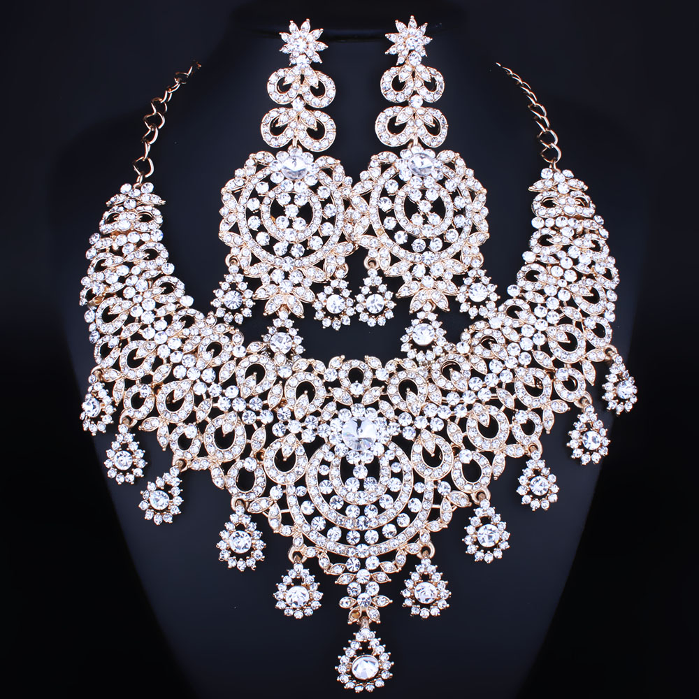 Moroccan style Statement Necklace Earrings set with Crystal s