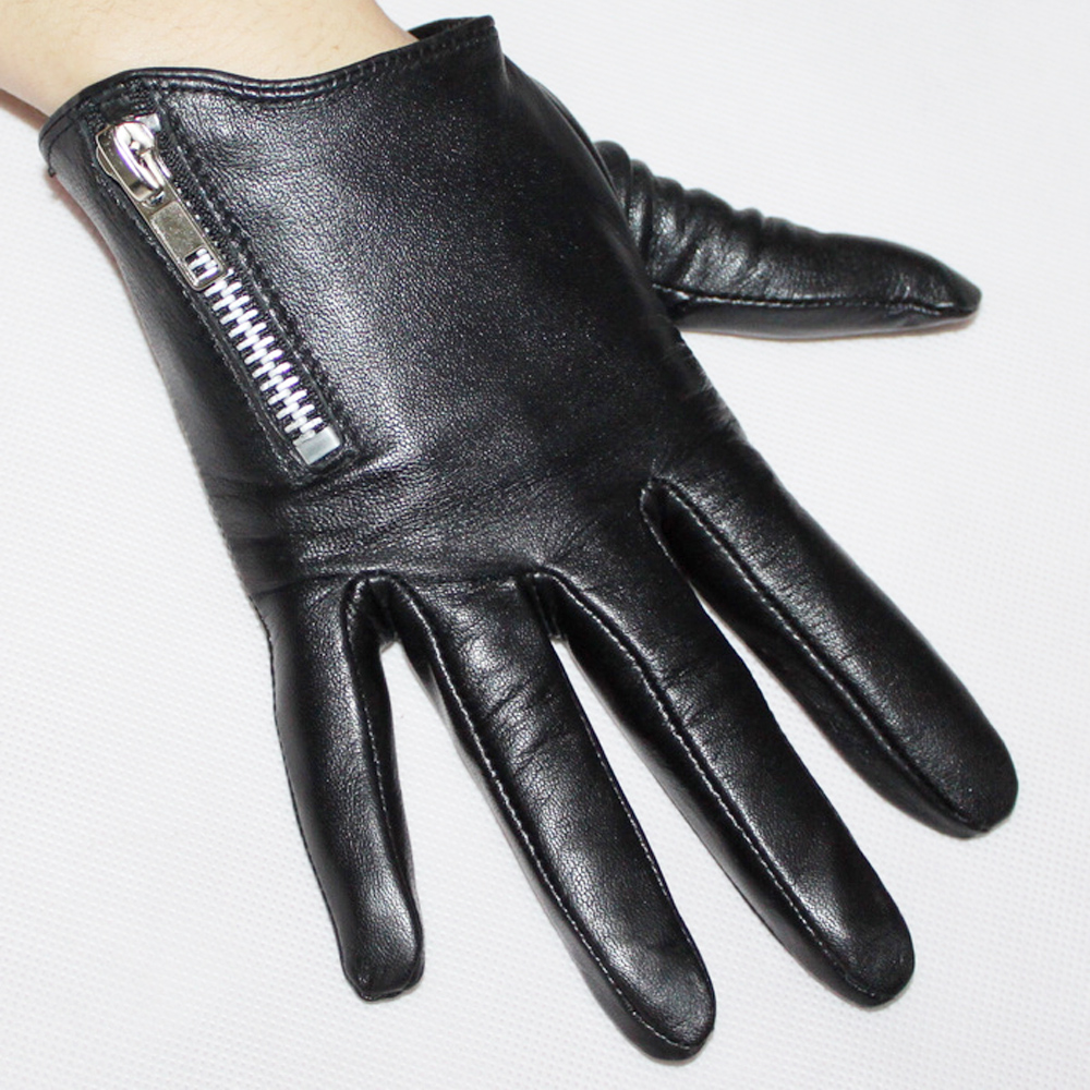 Leather driving gloves with zipper - 2016 Fashion Women New Dress Party Christmas Gift Model Show Oblique Zipper Sheepskin Genuine Leather Sheepskin