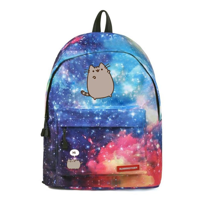 Cat Backpack Travel-Bag School-Bags Teenagers Galaxy Fashion Cartoon for Stars Printing