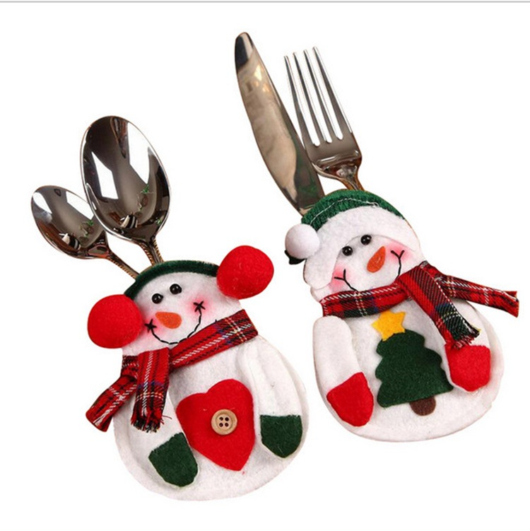 4pcs christmas decorations santa claus snowman silverware holders christmas ornaments for tables new year home decor - Christmas Silverware Holders