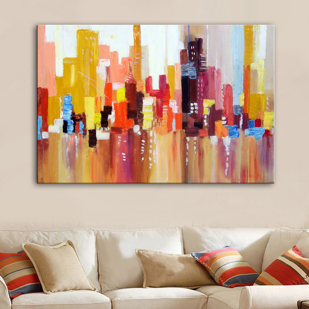 Free Shipping Hand Painting Oil Painting Abstract City Decoration Painting One Pcs Home Decor Modern Wall Prints