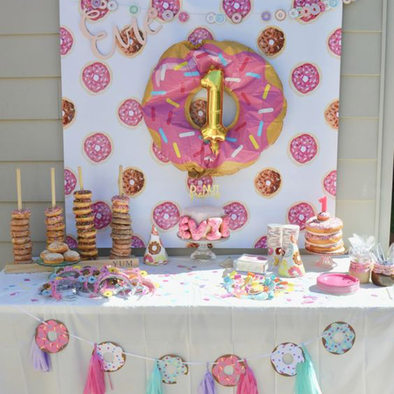 Image 2 - Donut Party Donut Wall Wedding Party Decoration Disposable Tableware Set Ice Cream Party Balloons Kids 1st Birthday Decorations-in Party DIY Decorations from Home & Garden