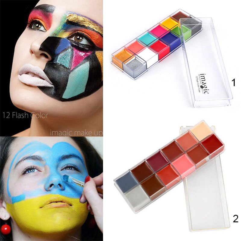 12 Colors Flash Tattoo Face Body Oil Painting Art Halloween Party Beauty Makeup Tool For Body Paint H7JP