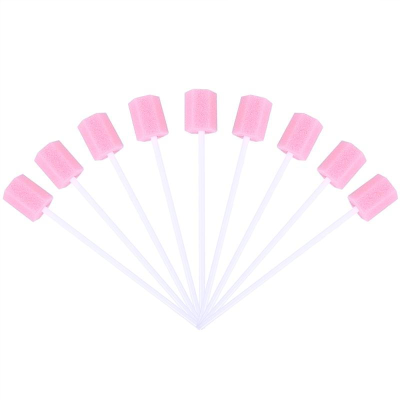 RUIMIO 100pcs Disposable Oral Care Sponge Swab Tooth Cleaning Mouth Swabs With Stick Sponge Head Cleaning Cleaner Swab