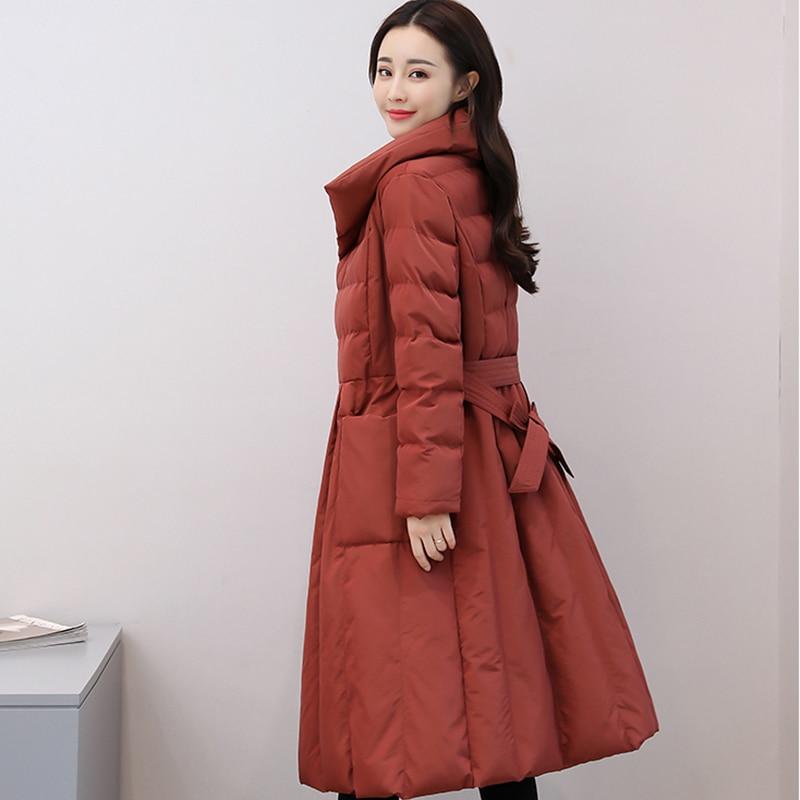 Jacket Mode Mince Marée Coton coréen Red Solide Moyen Nouvelle De En black Manteau Creamy white Pettiskirt Couleur up Lacet 2019 Xy103 brick Hiver Femmes Long Pq46wq