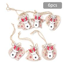 6pcs/set Christmas Tree Ornament Wooden Moose Head Hanging Pendants Angel Snow Bell Elk Star Decorations For Home