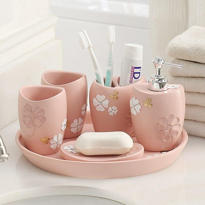 Ensemble de salle de bain de 6 articles de toilette en résine articles sanitaires cadeaux de mariage cadeaux de mariage accessoires de salle de bain ensemble distributeur de savon brosse à dents