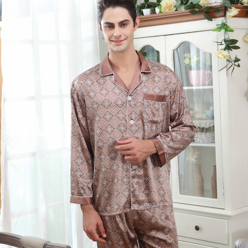 Men's Silk Sleepwear Long Sleeve Adult Silk Pyjamas Mens Pajama Sleepwear Set Loungewear Plus Striped Print Plus Size D 2165