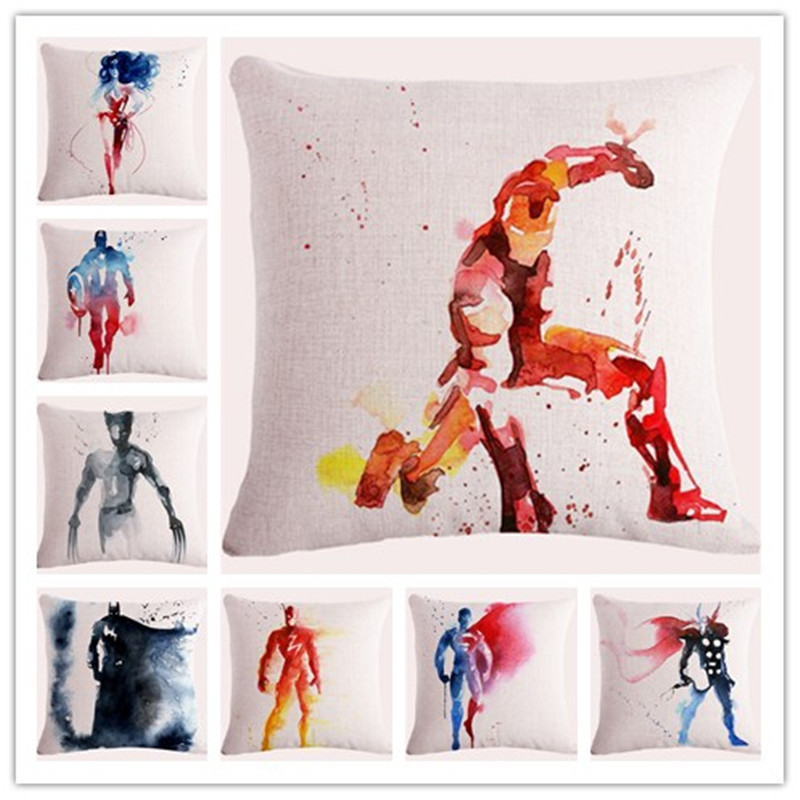 Akvarell Superhero Pute Cover Hjem Dekorative Pute Case Hjem Office Car Sofa Decor MF0518