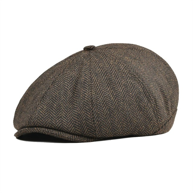 Coffee Black Tweed Wool Newsboy Cap Men Herringbone Beret Women 8 Panel  Country Baker Boy Hats Caps Flat Hats Retro Gatsby 111 1f44691e607