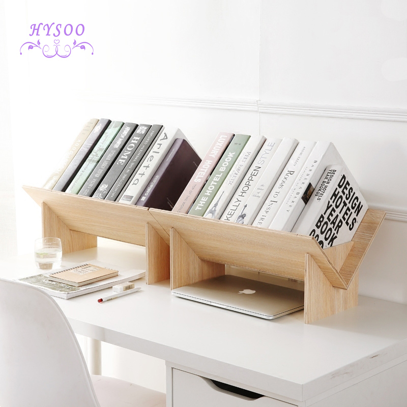 Solid wood assembly bookshelf table floor small bookcase student desktop storage shelves simple small bookshelves