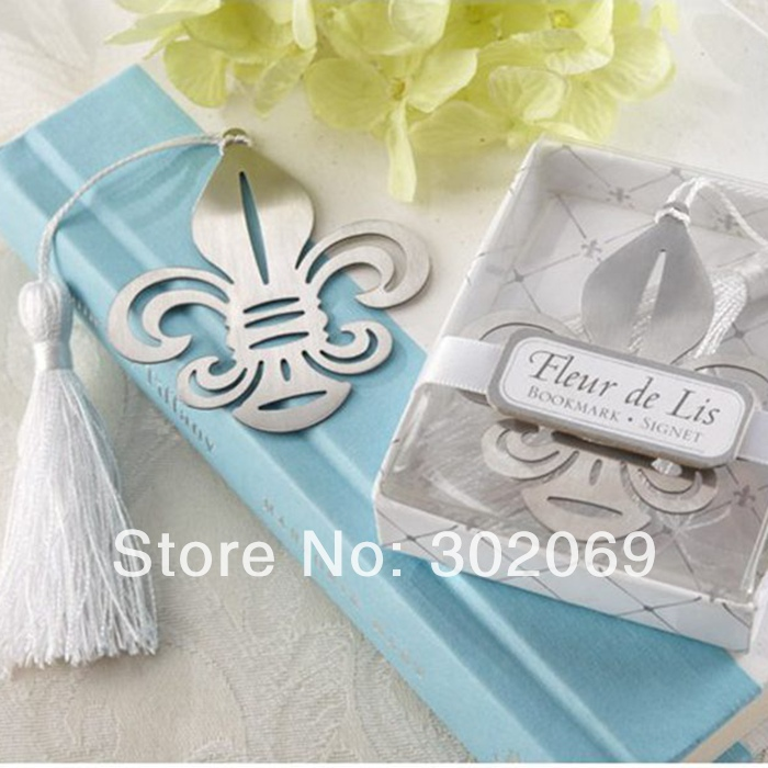 Silver Flower-de-luce Bookmark With Tassel Wedding Gift Wedding Favors Bookmark For Party 20pcs