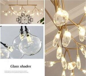 Image 3 - Nowoczesne LED nowe kreatywne lampy wiszące firfly czarne złoto prostokąt lampa wisząca do jadalni kuchnia