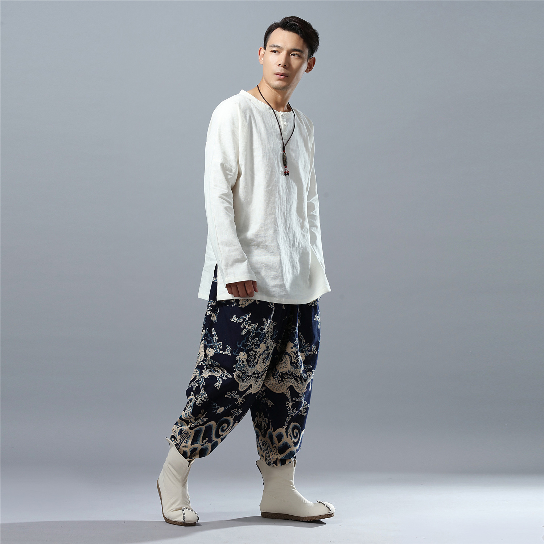 Mode De Bleu Pantalon Jambe Casual Occasionnels Impression Toile Dragon Chine Harem Lâches Style Mâle Large Hommes pUdxpq