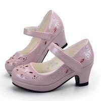 Mudiber Kids Sandals Girls Princess Shoes Flower Embroidery Children Shoes High Heel School Party Sandals 2018 sandalia infantil