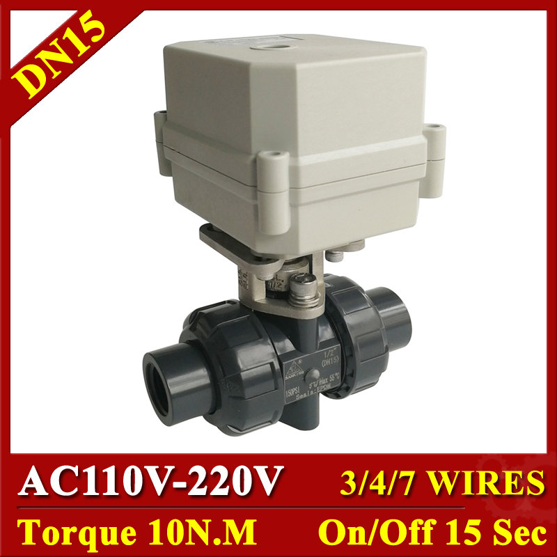 Tsai Fan Electric PVC Ball Valve BSP/NPT 1/2 AC110V 220V DN15 Motorized Ball Valve 3/4/7 Wires For Water Control SystemsTsai Fan Electric PVC Ball Valve BSP/NPT 1/2 AC110V 220V DN15 Motorized Ball Valve 3/4/7 Wires For Water Control Systems
