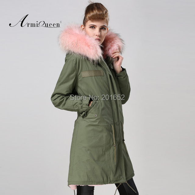 Factory wholesale price Women's Vintage Retro Fur Hooded Military Parka Jacket Coat with pink lined and collar fur mr 3
