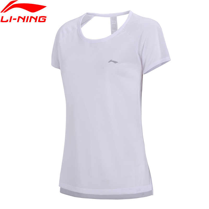 Li-Ning Women Running T-Shirt AT DRY Breathable 100% Polyester Regular Fit LiNing Fitness Sports T-shirts ATSN062 WTS1420