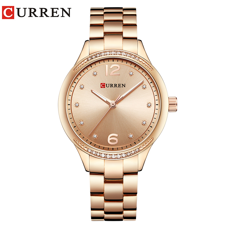 CURREN Brand Fashion Dress Quartz Ladies Watch Crystals Full Steel Women's Wristwatches Women Gifts Clock Relogio Feminino