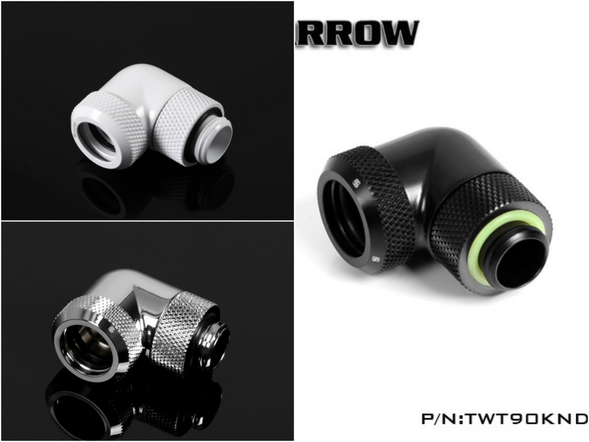 Barrow G1/4 90 Degree Hard Tube Female Fitting Connector TWT90KND-K14 barrow white black silver od12mm hard tube fitting hand compression fitting g1 4 od12mm hard pipe tykn k12 v4