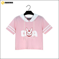 High Quality 100 Cotton New Game Character OW D VA Short Sleeved Hooded OVELY Rabbit Ears