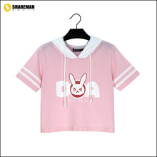 high quality 100% cotton new Game Character OW D.VA Short-sleeved hooded OVELY rabbit ears t shirt Summer in stock