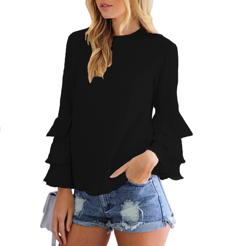 Camisa Butterfly Sleeves Off White Female Tops Chiffon Blouse