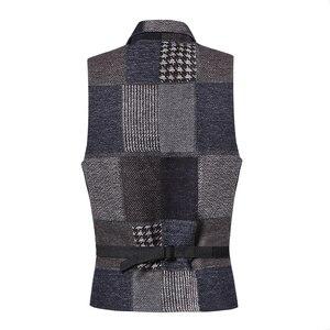 Image 3 - Весенний винтажный клетчатый шерстяной Повседневный облегающий жилет с вышивкой в стиле ретро для мужчин Свадебный брендовый мужской костюмный жилет в европейском стиле M242