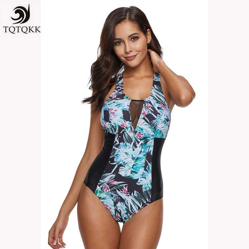 725ffe8d665 ... TQTQKK Swimsuit 2019 Bikini Print Vintage Plus size Swimwear Women  Bandeau One piece Swimsuit Monokini Female ...