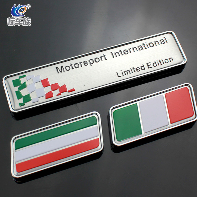 1 pcs 3d italy motorsport international limited edition car emblem italian flag fender car stickers decoration
