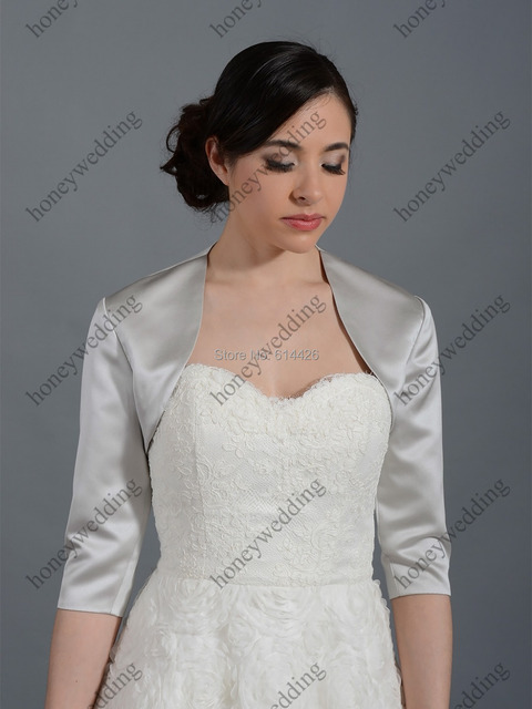 Free Shipping 3/4 SLEEVE WEDDING SATIN BOLERO JACKET Custom Made