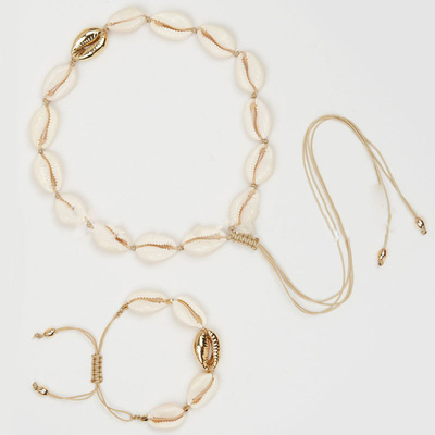 Shell Necklace Set Gold...