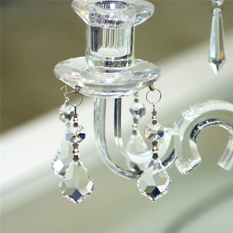 10PCS Clear 38cm French Leaf Silver Bowtie Chakra Spectra Suncatcher Chandelier Glass Crystals Lamp Prisms Parts Hanging Pendant (2)
