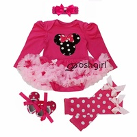 First Birthday Costumes New Born Baby Rompers Baby Girl's Minnie Mickey Dress Lace 4pcs sets Spring Bebe Clothing Infant Clothes