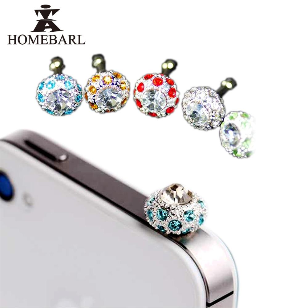 Homebarl bling diamond rhinestone 3.5mm enchufe del auricular enchufe anti del p